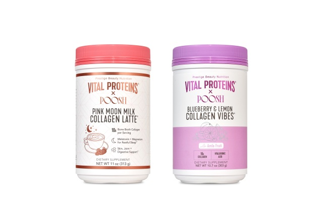 Pink Moon Milk Collagen Latte, $49, and Blueberry and Lemon Collagen Vibes, $43, from Vital Proteins x Poosh.