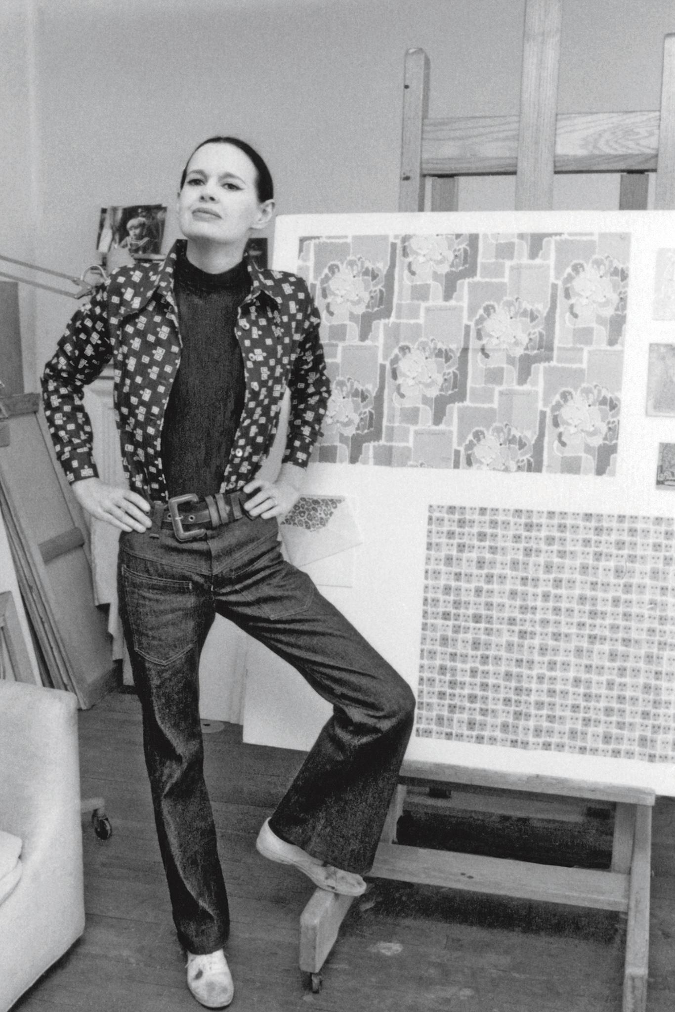 Gloria Vanderbilt in her art studio in 1972.