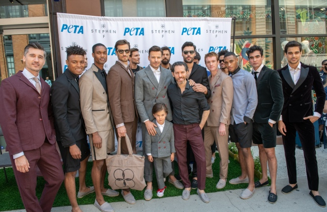 Stephen Ferber with models after the PETA x Stephen F Wool-Free Suits Showcase