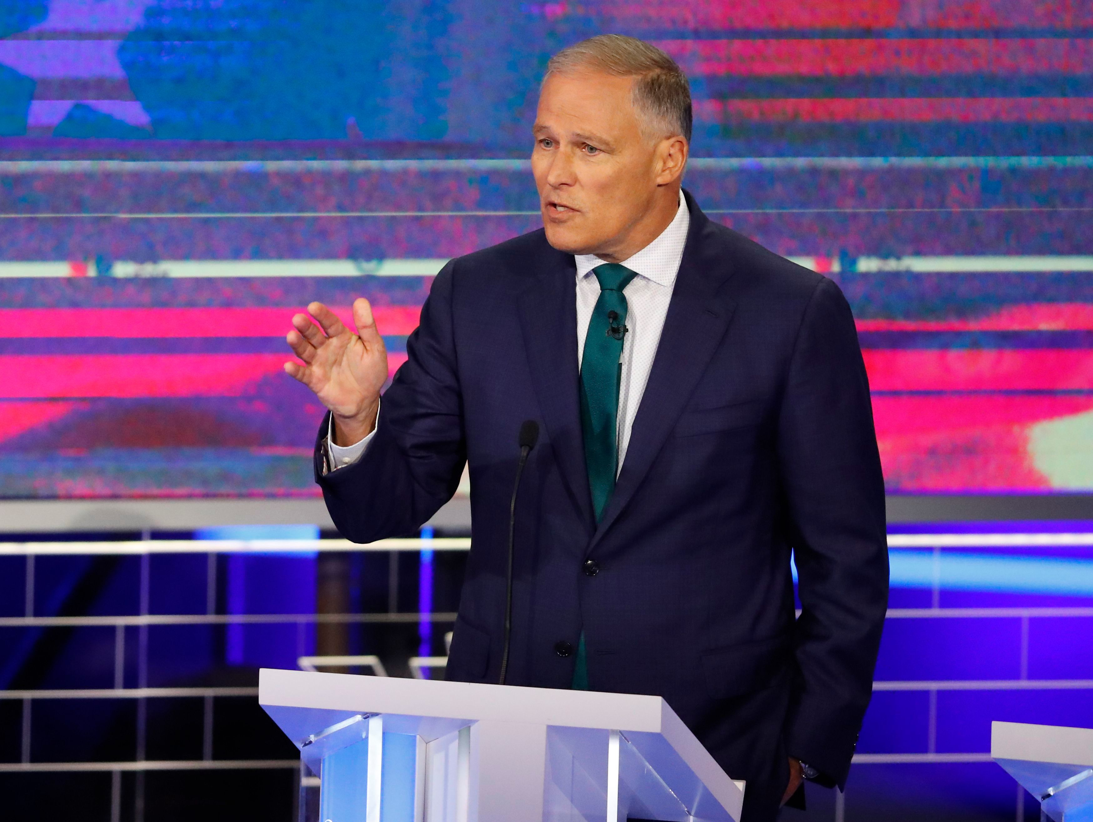 Democratic presidential candidate Washington Gov. Jay Inslee speaks during the Democratic primary debate hosted by NBC News at the Adrienne Arsht Center for the Performing Art, in MiamiElection 2020 Debate, Miami, USA - 26 Jun 2019