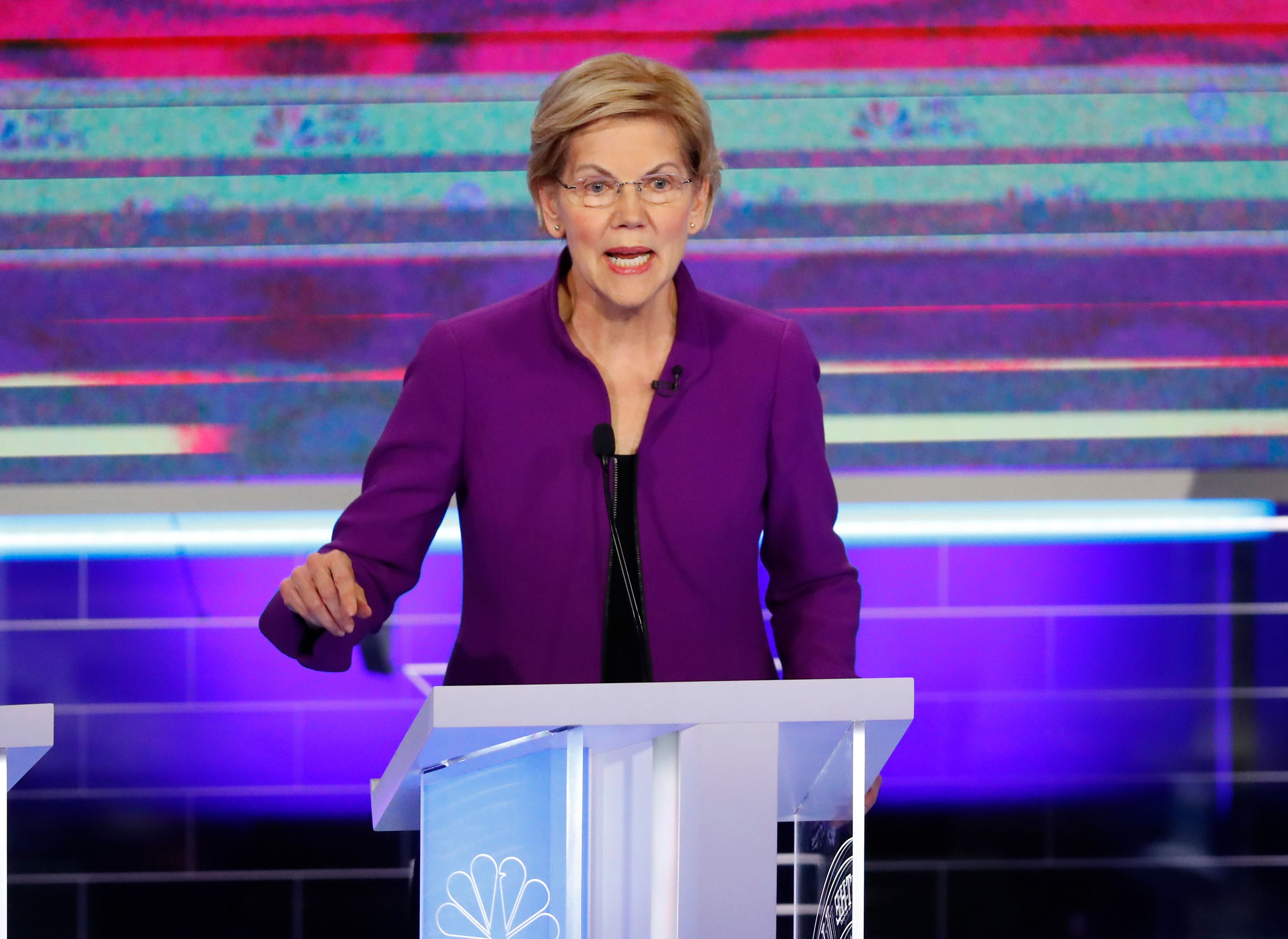 Democratic presidential candidate Sen. Elizabeth Warren, D-Mass., speaks during the Democratic primary debate hosted by NBC News at the Adrienne Arsht Center for the Performing Art, in MiamiElection 2020 Debate, Miami, USA - 26 Jun 2019