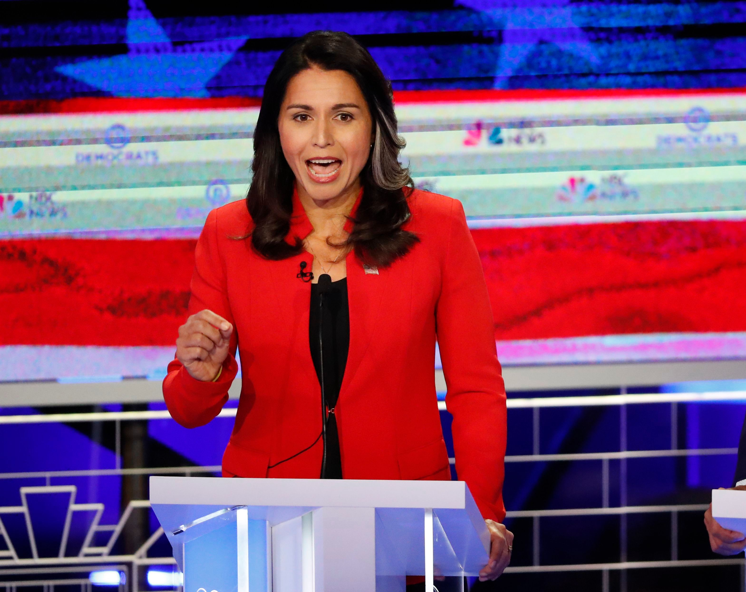Democratic presidential candidate Rep. Tulsi Gabbard,D-HI., answers a question during the Democratic primary debate hosted by NBC News at the Adrienne Arsht Center for the Performing Art, in MiamiElection 2020 Debate, Miami, USA - 26 Jun 2019