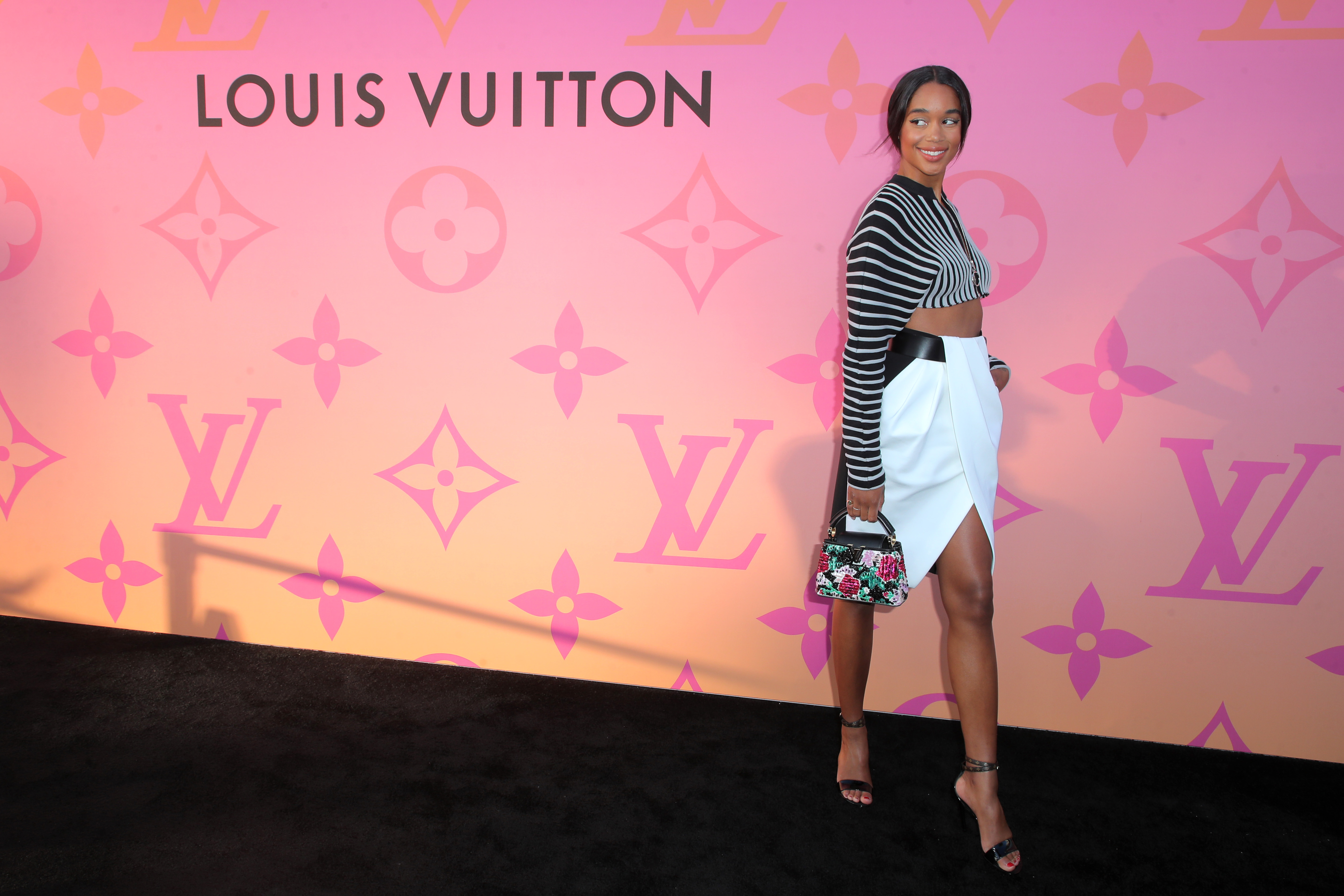 Laura HarrierOpening of Louis Vuitton X Cocktail Party, Arrivals, Los Angeles, USA - 27 Jun 2019 Wearing Louis Vuitton Same Outfit as catwalk model *10231796aj