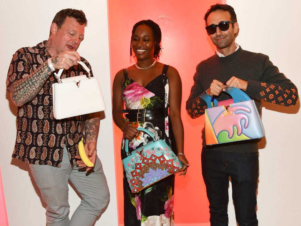 Urs Fischer, Tschabalala Self and Alex Israel at the opening of Louis Vuitton X cocktail party in Los Angeles