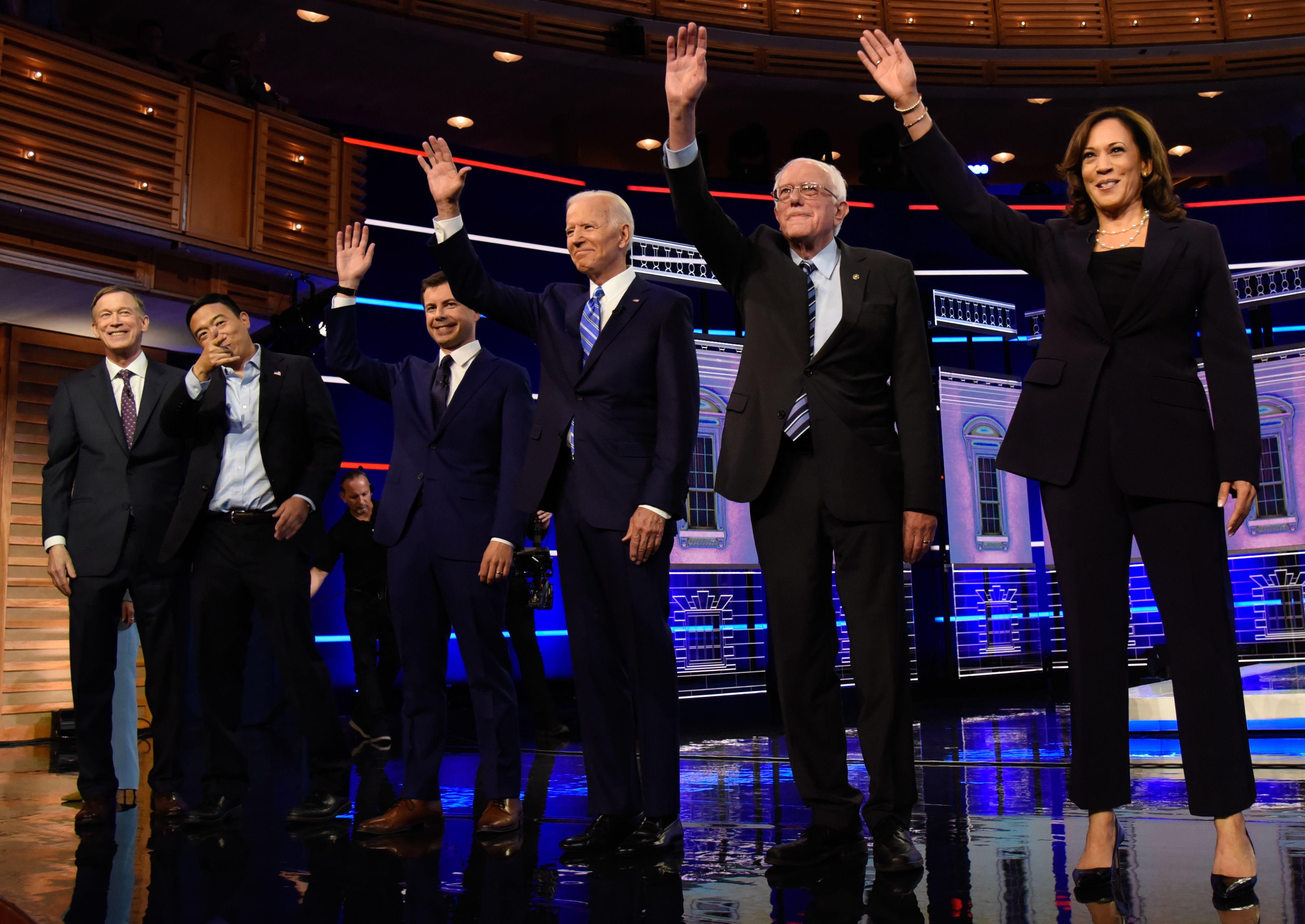 John Hickenlooper, Andrew Yang, Pete Buttigieg, Joe Biden, Bernie Sanders and Kamala HarrisFirst Democratic Presidential Debate, Miami, USA - 27 Jun 2019