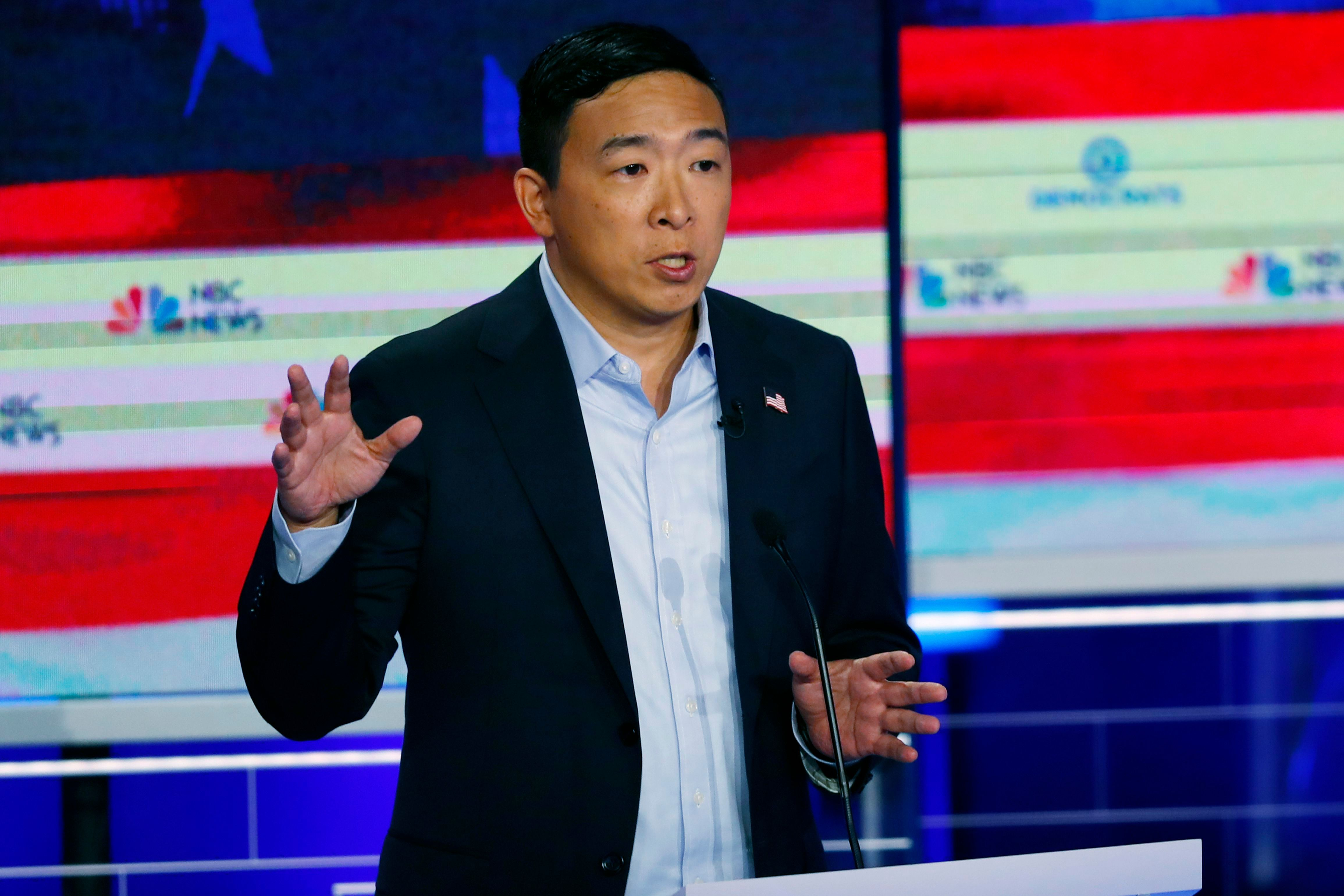 Democratic presidential candidate entrepreneur Andrew Yang speaks during the Democratic primary debate hosted by NBC News at the Adrienne Arsht Center for the Performing Arts, in MiamiElection 2020 Debate, Miami, USA - 27 Jun 2019