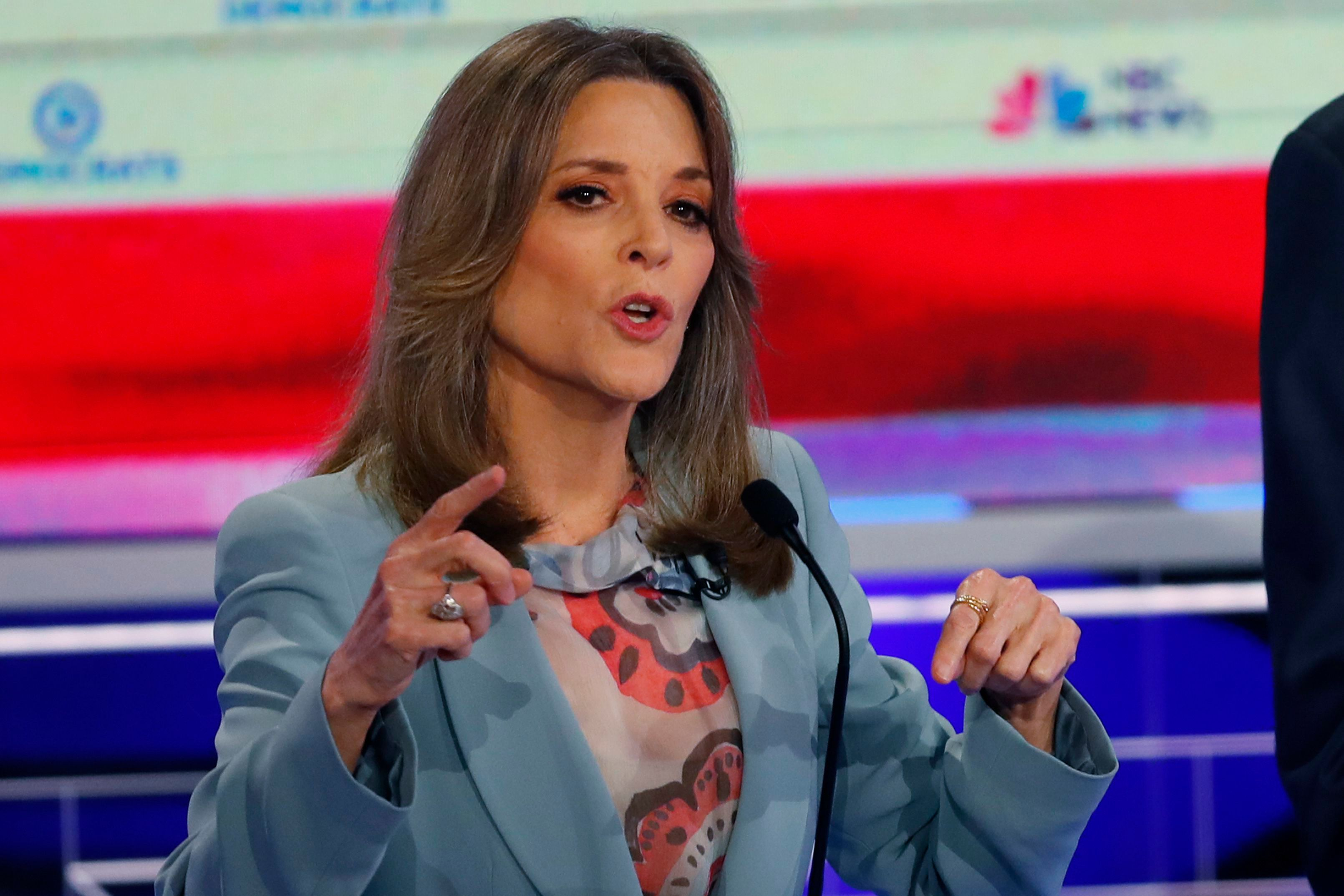 Democratic presidential candidate author Marianne Williamson speaks during the Democratic primary debate hosted by NBC News at the Adrienne Arsht Center for the Performing Arts, in MiamiElection 2020 Debate, Miami, USA - 27 Jun 2019