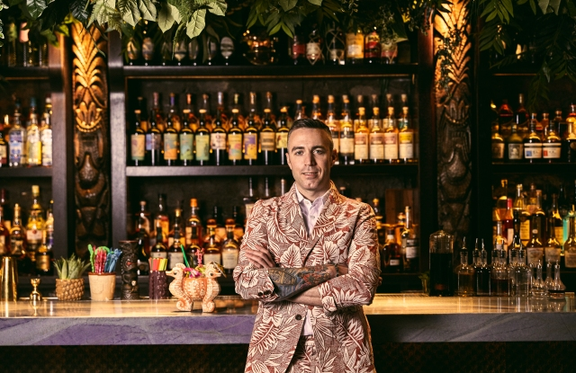 Mixologist Kevin Beary in a look from the Reyn Spooner x Todd Snyder capsule.