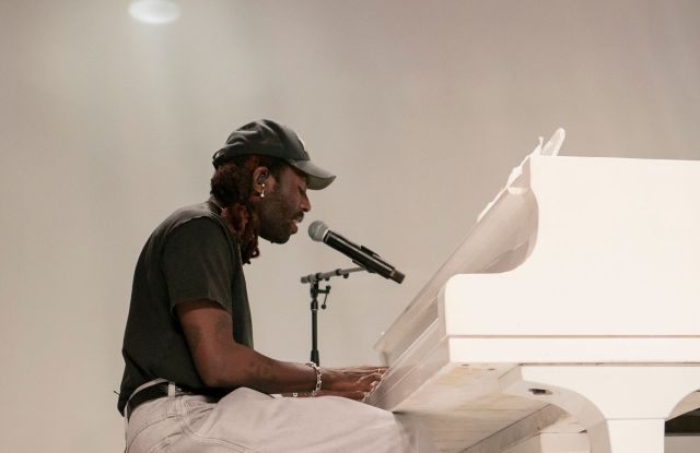 Dev Hynes performs at the gala celebrating the opening of the Virgil Abloh exhibit at the MCA.