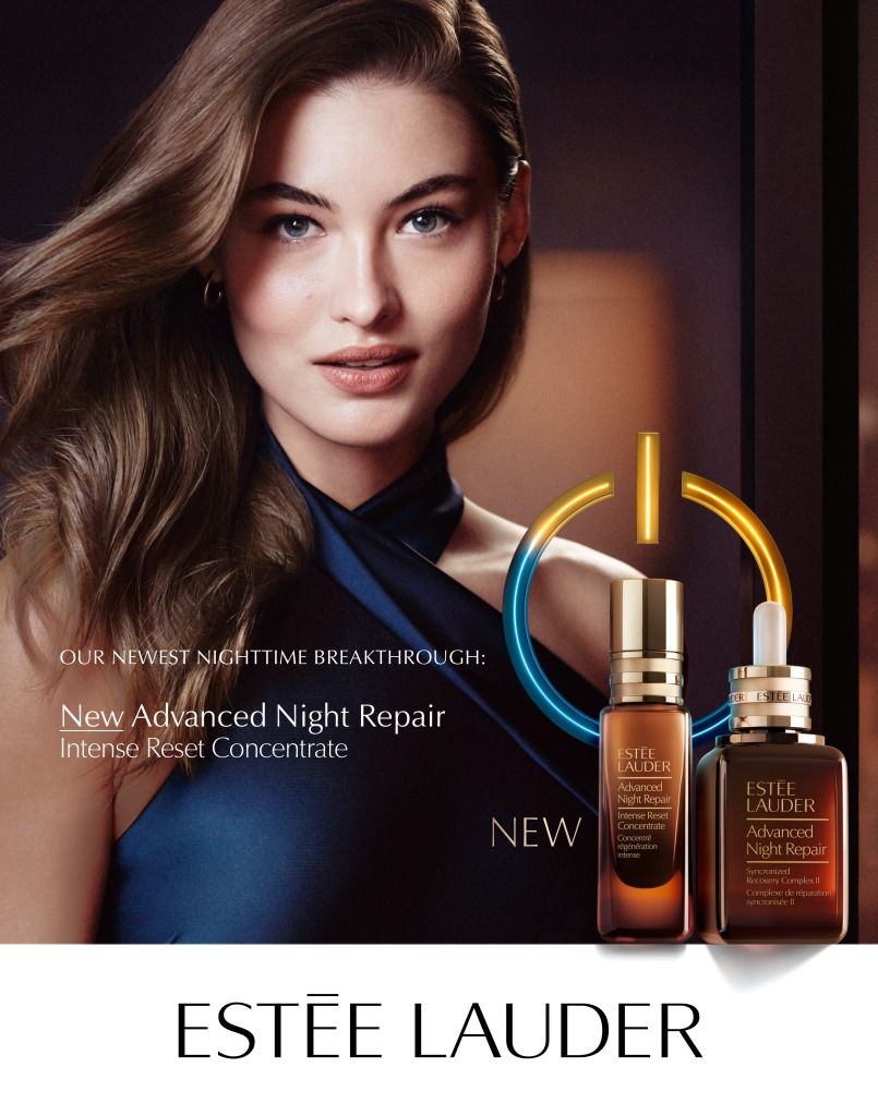 Grace Elizabeth fronts the ad campaign of the New Advanced Night Repair Intense Reset Concentrate product.