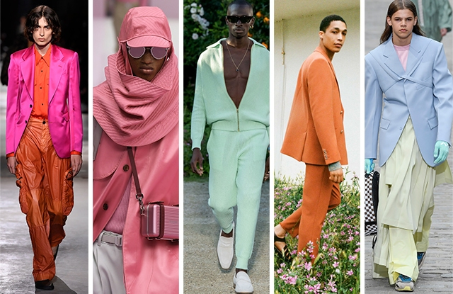 From left to right: Dries Van Noten, Dior, Casablanca, Nanushka, Louis Vuitton Men's Spring 2020