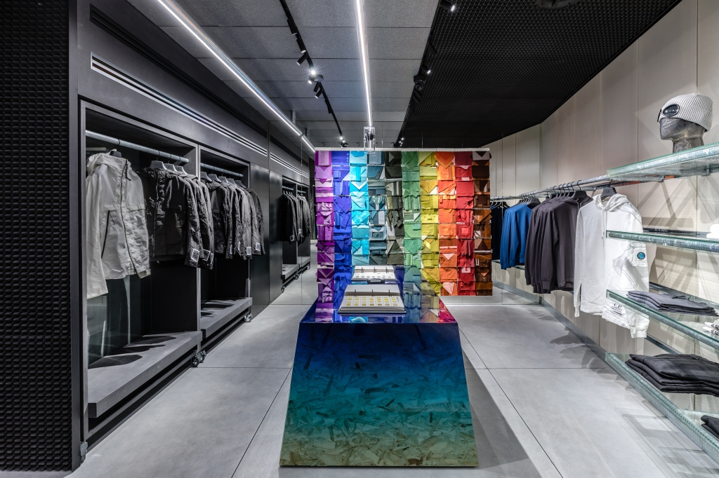 """The area dedicated to the """"Bespoke Color"""" project at Milan's C.P. Company flagship store."""