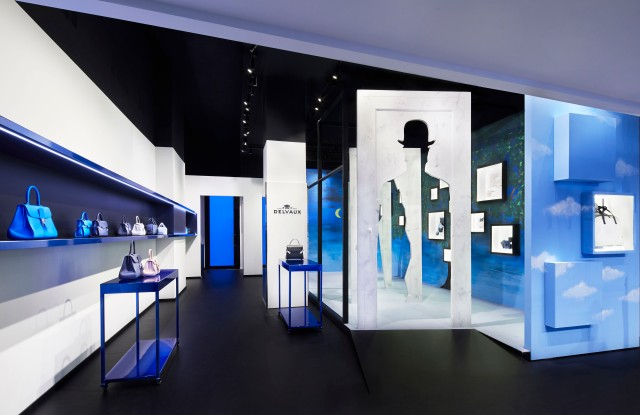 Delvaux's temporary Magritte-inspired store on Rue Saint Honoré in Paris