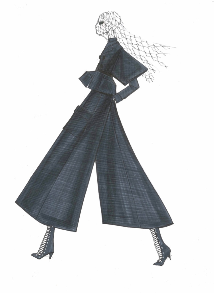 A sketch for the Dior fall-winter haute couture collection.