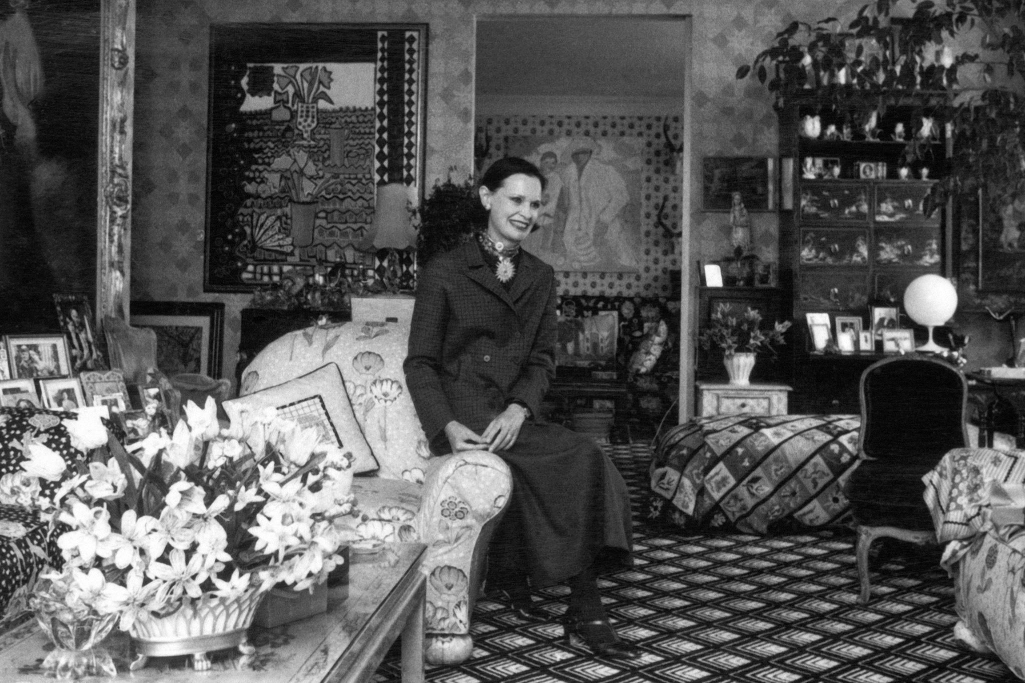 Portrait of socialite and heiress Gloria Vanderbilt at her home in New York in 1975.