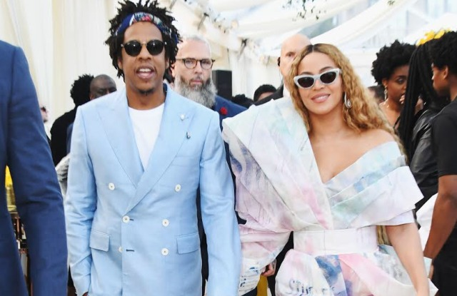 Jay-Z in custom Frere and Beyoncé at the annual Roc Nation Grammy Brunch.
