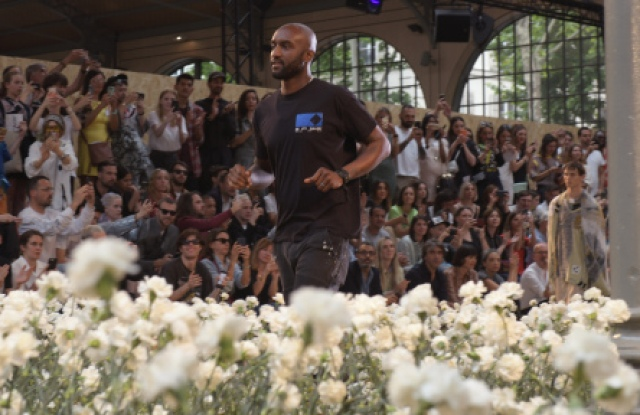 Virgil Abloh takes a bow after the Off-White spring 2020 show.