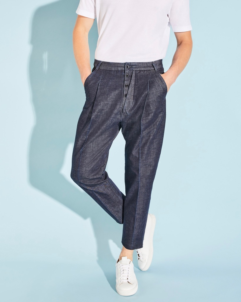 A denim pant from the Incotex for Marithé + François Girbaud capsule collection for spring 2020.