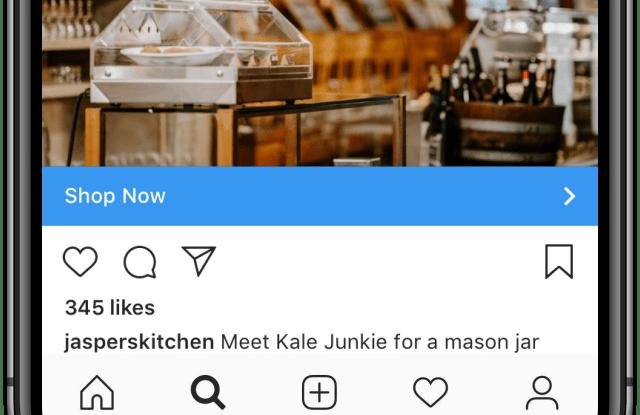 Example of ad in Instagram's Explore tab