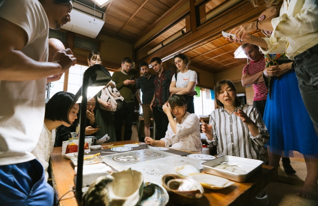Jacquard and Google & Arts Culture resident artists during a studio visit in Japan