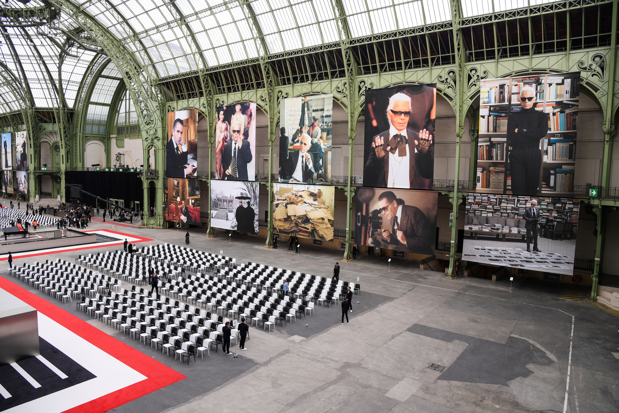 The atmosphere at the Karl Lagerfeld memorial.