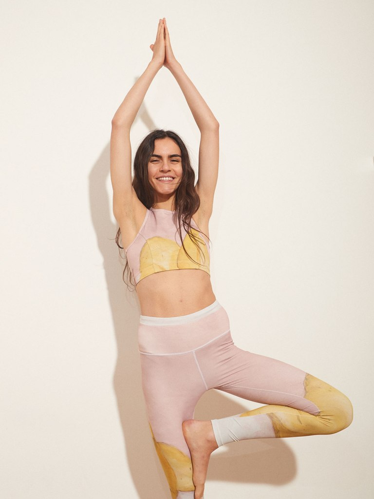 A yoga outfit from Licia Florio bearing designs from French artist Joanna Tagade.
