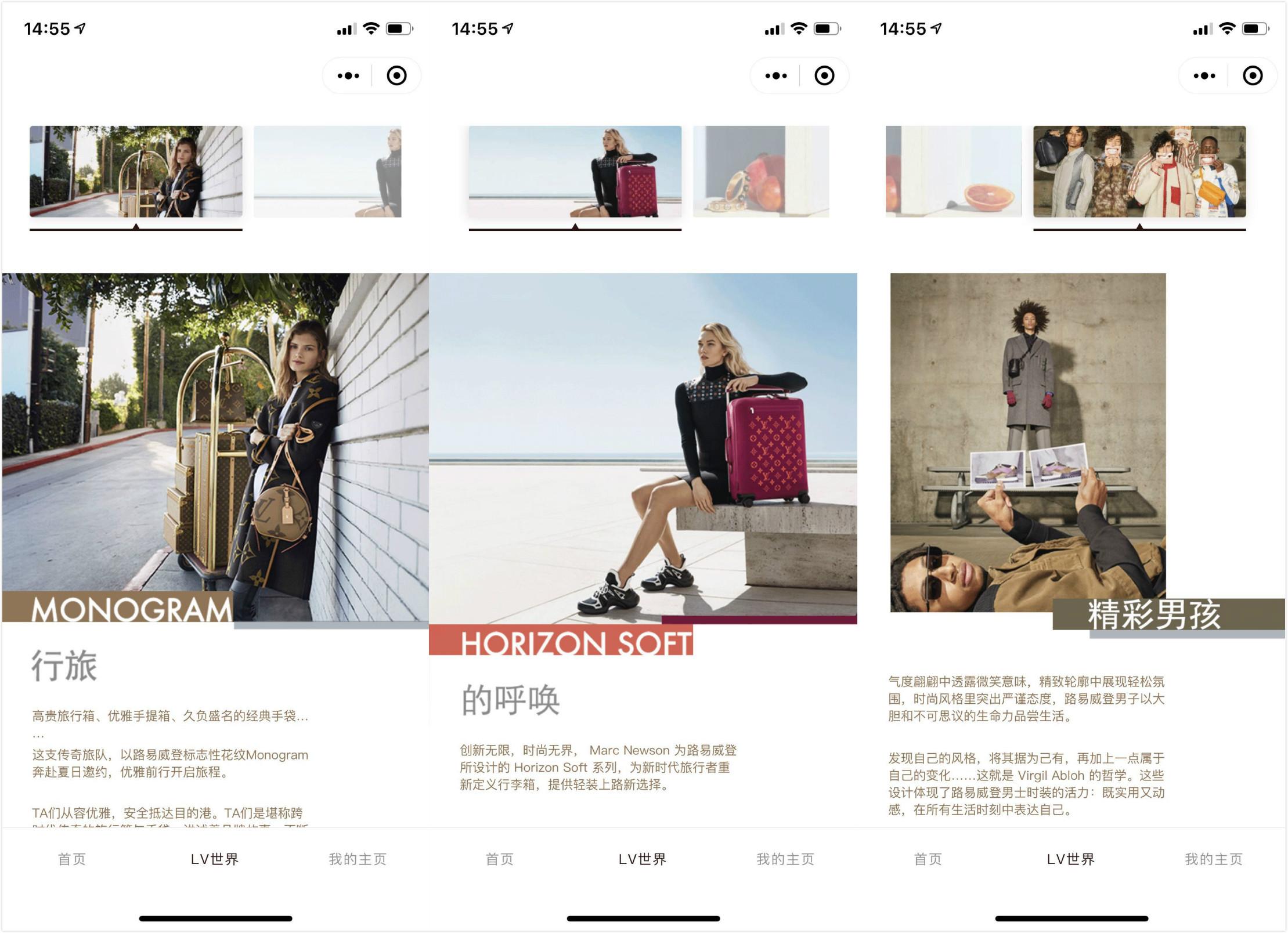 Screenshot of Louis Vuitton's newly launched educational WeChat Mini-program