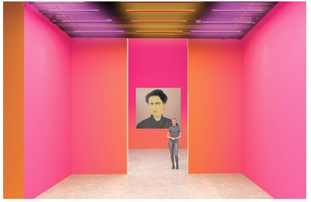 """A rendering of the """"Louis Vuitton X"""" exhibition in Los Angeles featuring a portrait by Alex Katz."""