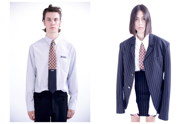 Looks from the M1992 spring 2020 collection featuring ties made in collaboration with E.Marinella.