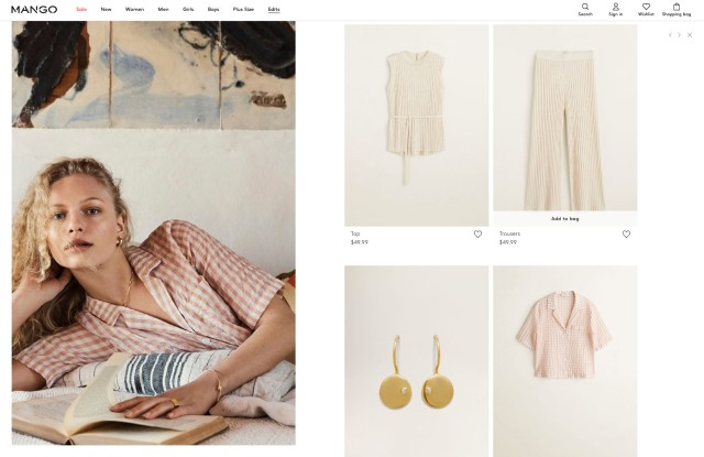 Items from Mango offered on the brand's web site.