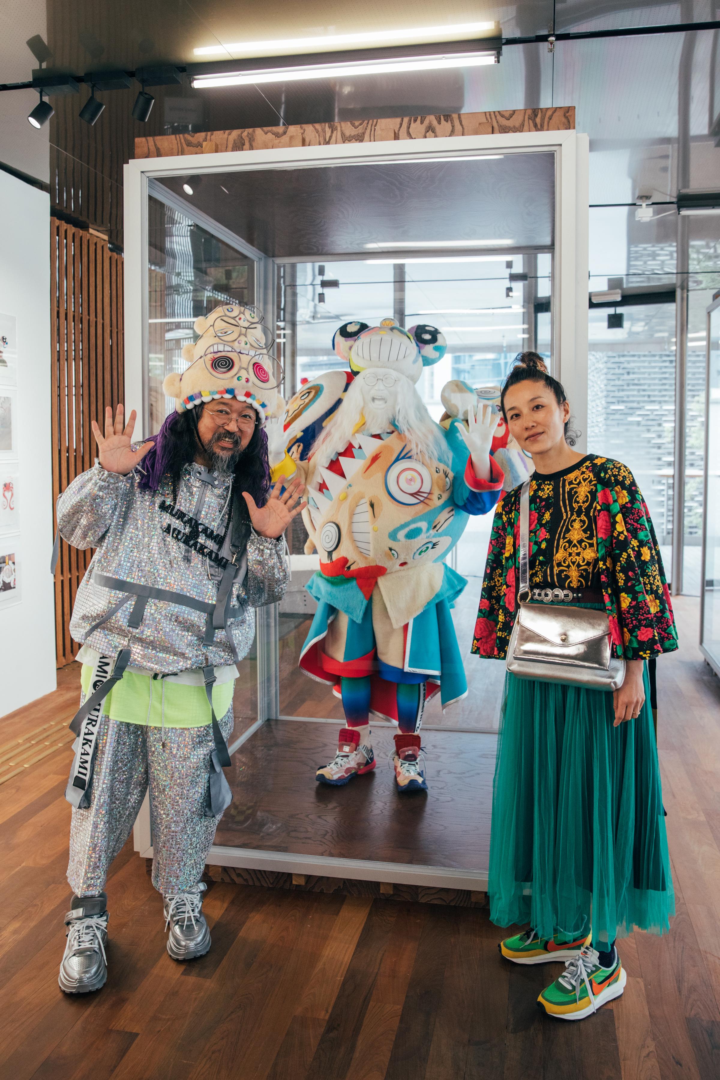 Takashi Murakami and his stylist, Kazuki Yunoki, at the JC Contemporary gallery in Tai Kwun.