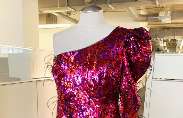 Aiden's long-sleeved sequined and feathered dress for Neiman Marcus' holiday offering.