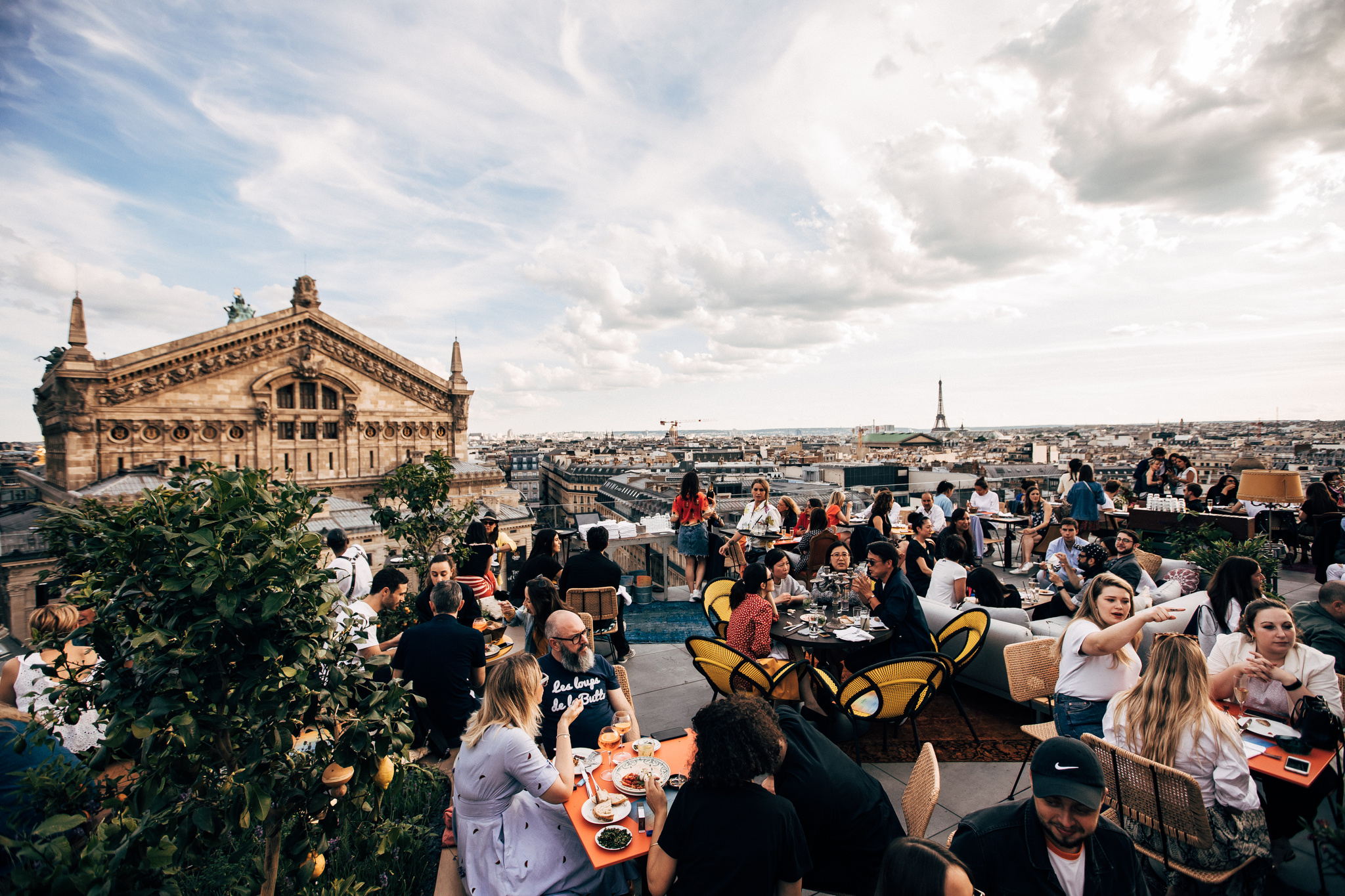 The view from CrŽatures, the new rooftop bar on the 8th floor of the Galeries Lafayette.