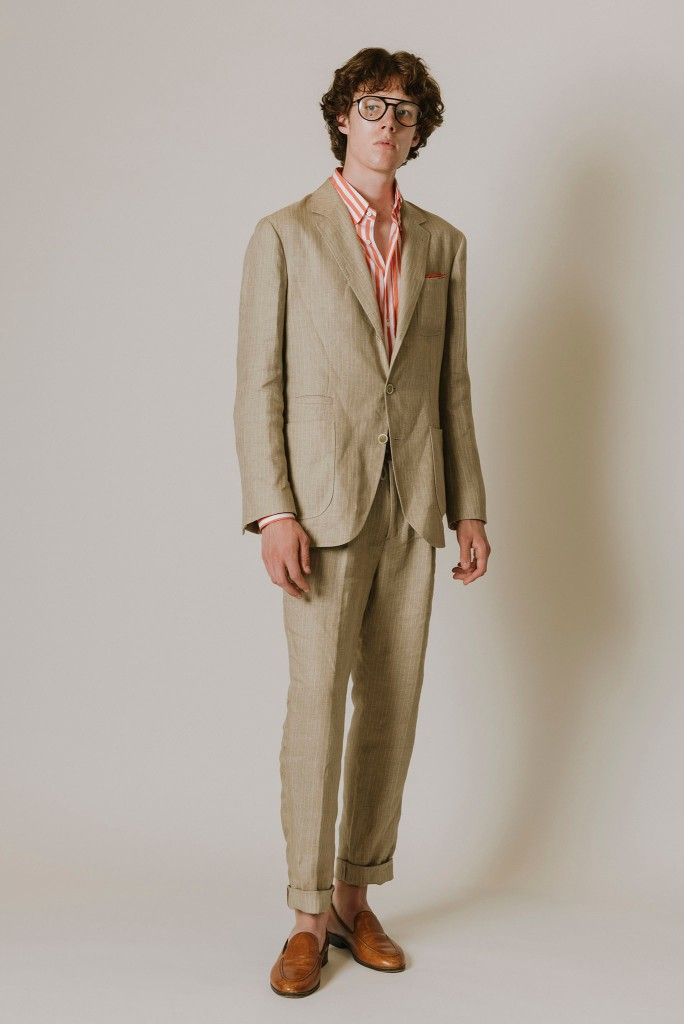 Brunello Cucinelli's suit and shirt.
