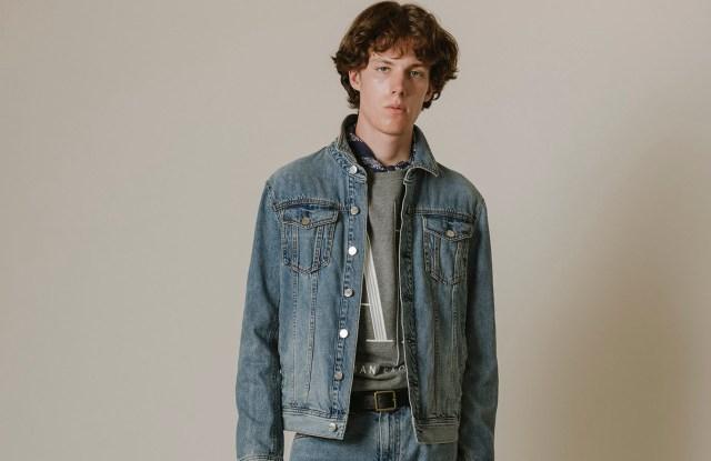 A|X Armani Exchange's denim jacket, pants and sweatshirt.