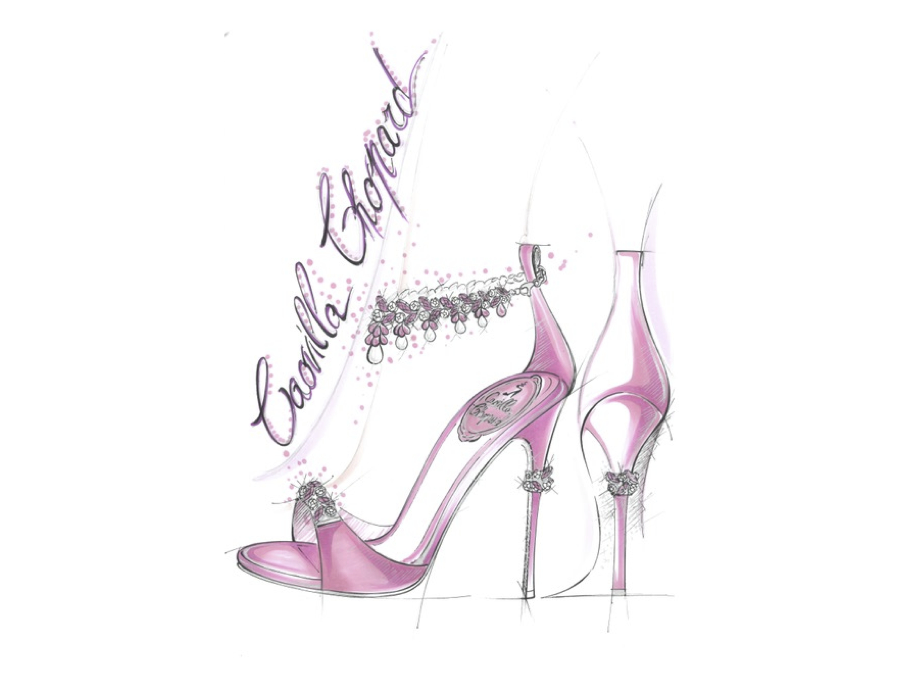 A sketch of the René Caovilla for Chopard sandal style.