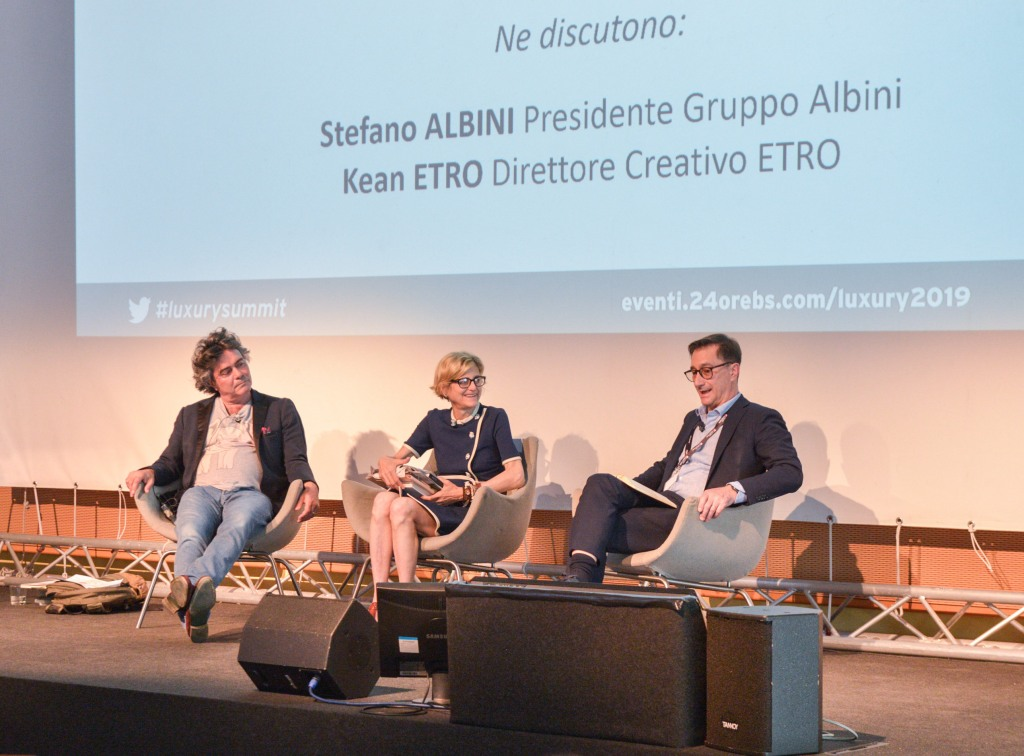 Kean Etro and Stefano Albini speaking at the Luxury Summit organized by the 24Ore Business School in collaboration with economic newspaper Il Sole 24 Ore.