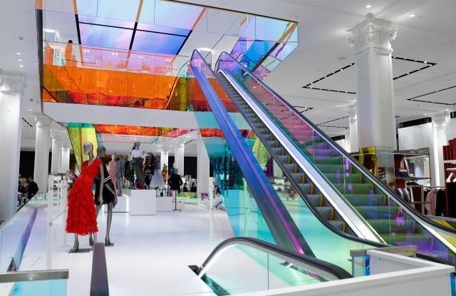 A colorful escalator leads to the second floor inside Saks Fifth Avenue's flagship midtown Manhattan location, in New York. The company is in the last phase of what Saks president Marc Metrick calls a $250 million redevelopment just as luxury rivals Neiman Marcus and Nordstrom expand into the city. Metrick, 45, hopes the new look will reinvent the department store experience, namely bringing theater to luxury shopping at a time when shoppers can buy their designer handbags onlineInsider Q A Saks President, New York