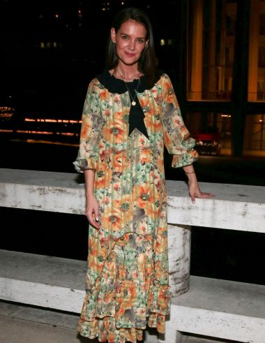 Katie Holmes in a nightgown dress by Jane Mayle at last month's American Ballet Theatre gala.