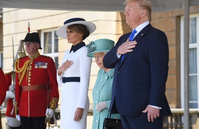 US President Donald Trump and First Lady Melania Trump attend a welcome ceremony with Queen Elizabeth II at Buckingham Palace US President Donald Trump state visit to London