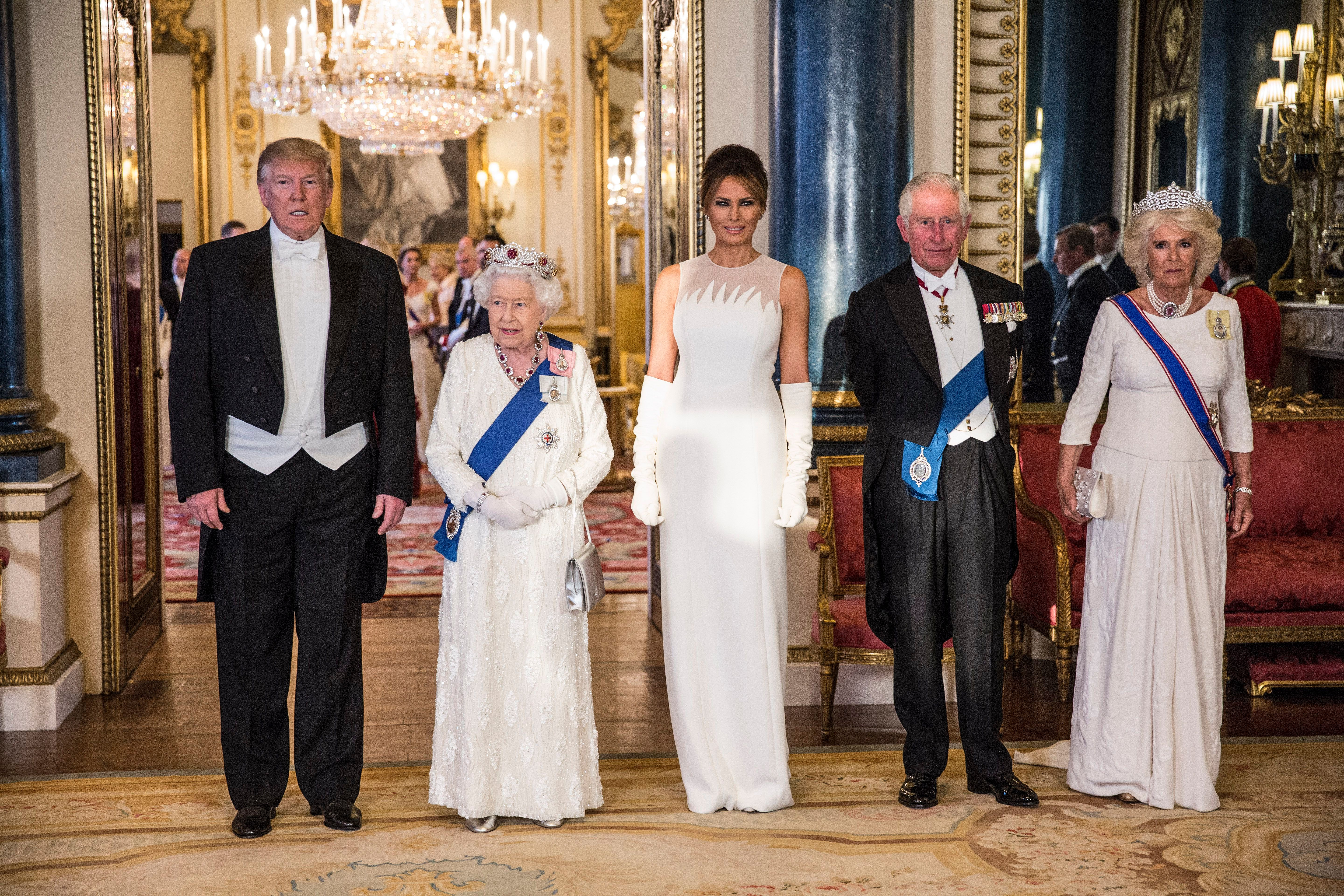 Queen Elizabeth II Elizabeth II with Prince Philip, Donald Trump, President of The United States of America and his wife Melania Trump at State Banquet, Buckingham PalaceUS President Donald Trump state visit to London, UK - 03 Jun 2019