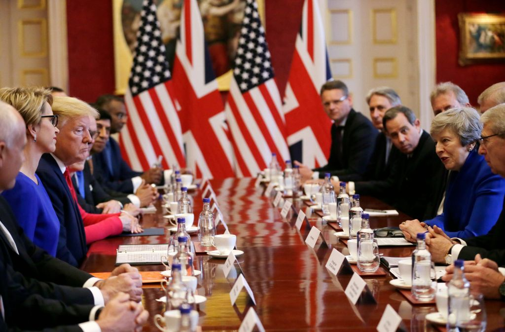 U.S President Donald Trump, center left, and British Prime Minister Theresa May, center right, attend a business roundtable event at St. James's Palace, LondonTrump, London, United Kingdom - 04 Jun 2019