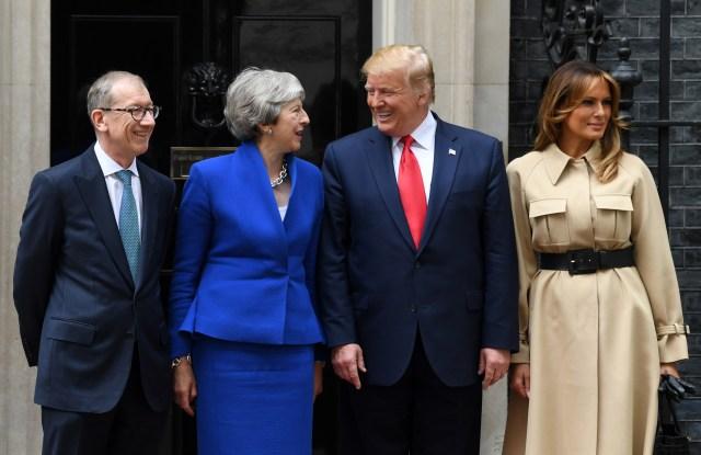 Philip May, Prime Minister Theresa May, US President Donald Trump and First Lady Melania Trump at No.10 Downing StreetUS President Donald Trump state visit to London, UK - 04 Jun 2019