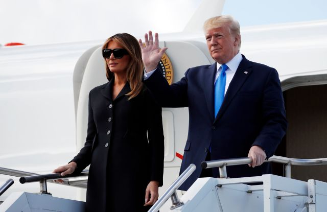 President Donald Trump, with first lady Melania Trump, arrive at Caen Airport, in Caen, FranceTrump D-Day 75 Years, Caen, France - 06 Jun 2019