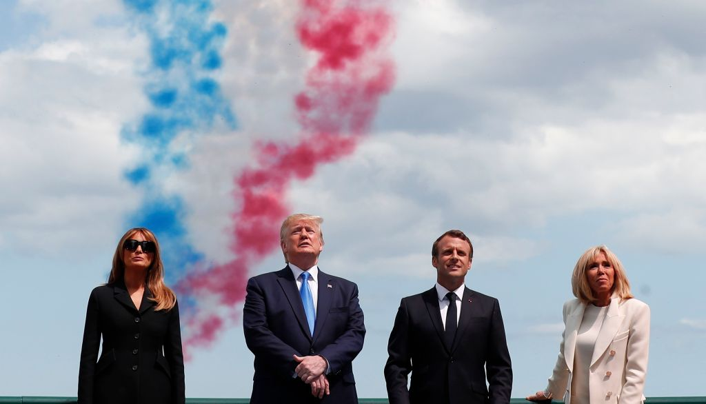 75th anniversary of the Allied landings on D-Day. U.S President Donald Trump, U.S First Lady Melania Trump, left, French President Emmanuel Macron, second right, and his wife Brigitte Macron, right, attend a ceremony to mark the 75th anniversary of D-Day at the Normandy American Cemetery in Colleville-sur-Mer, Normandy, France, . World leaders are gathered Thursday in France to mark the 75th anniversary of the D-Day landingsD-Day Anniversary, Colleville-sur-Mer, France - 06 Jun 2019
