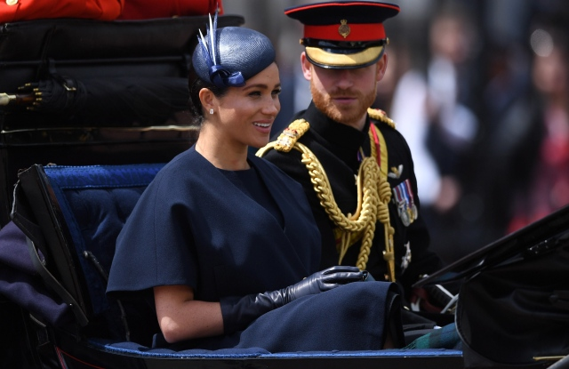 (R-L) Britain's Harry and Meghan, Duke and Duchess of Sussex ride in a carriage during the Trooping of the Colour Queen's birthday parade, in central London, Britain, 08 June 2019. The annual official Queen's birthday parade is more popularly known as Trooping the Colour when the Queen's colour is 'trooped' in front of Her Majesty and all the Royal Colonels.Trooping the Colour Queen's birthday parade in London, United Kingdom - 08 Jun 2019