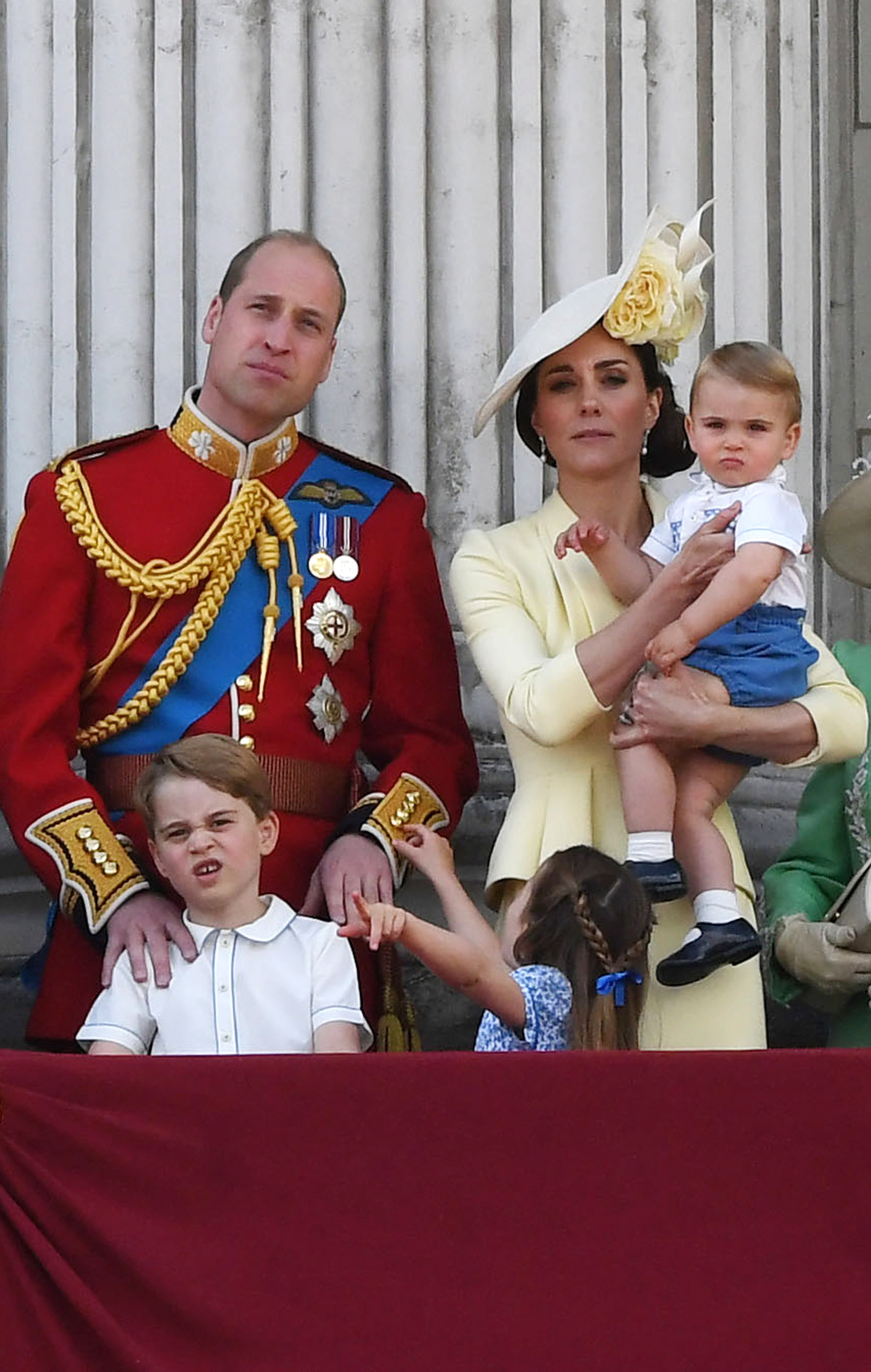 (L-R) Britain's Prince George, his father Prince William, Princess Charlotte, Catherine, Duchess of Cambridge and Prince Louis stand on a balcony of Buckingham Palace to watch a fly-past during the Trooping of the Colour Queen's birthday parade, in central London, Britain, 08 June 2019. The annual official Queen's birthday parade is more popularly known as Trooping the Colour when the Queen's colour is 'trooped' in front of Her Majesty and all the Royal Colonels.Trooping the Colour Queen's birthday parade in London, United Kingdom - 08 Jun 2019
