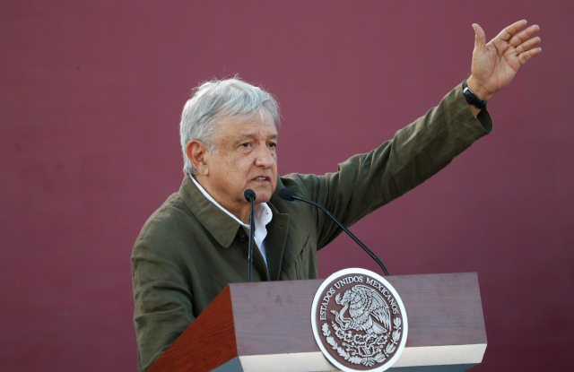 Mexican President Andres Manuel Lopez Obrador speaks during a rally in Tijuana, Mexico, . The event was originally scheduled as an act of solidarity in the face of President Donald Trump's threat to impose a 5% tariff on Mexican imports if it did not stem the flow of Central American migrants heading toward the U.S. But Mexican and U.S. officials reached an accord Friday that calls on Mexico to crackdown on migrants in exchange for Trump backing off his threatTariffs, Tijuana, Mexico - 08 Jun 2019