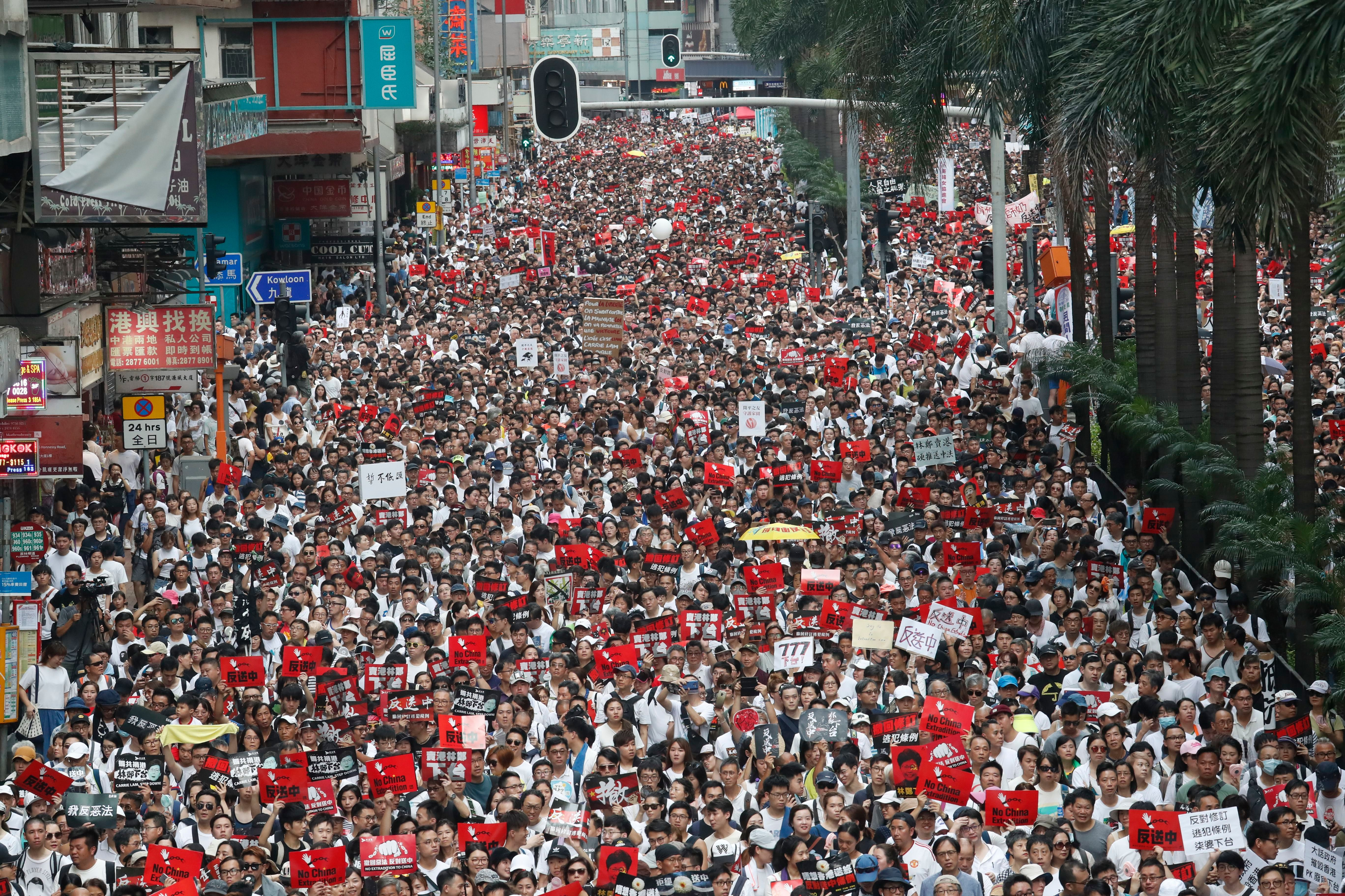 A million people also walked in Hong Kong on Sunday, June 9, said the march's organizers, to protest the extradition bill.