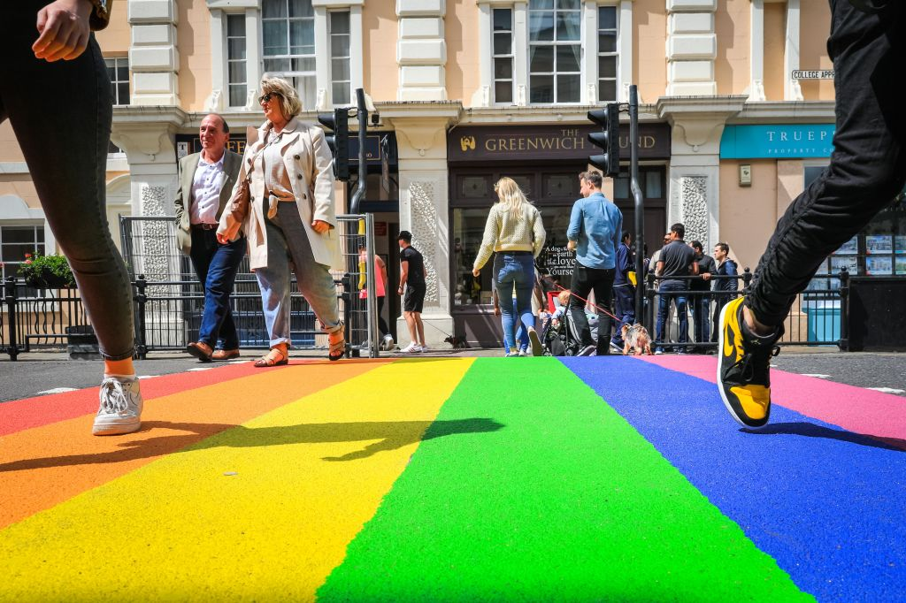 People walk across the brand new Pride rainbow street crossing in the centre of Greenwich, near its famous market and landmarks.Pride Month in Royal Greenwich, London, UK - 16 Jun 2019The crossing appeared this weekend for International Pride Month in June, and was installed with approval from the local authority and Royal Borough of Greenwich.